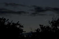1 day old moon and mercury